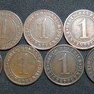 GERMANY 1 RENTENPFENNIG AND REICHSPFENNIG 9 COINS 1924 A - J  WEIMAR RARE LOT XF