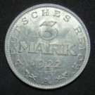 GERMANY 3 MARK ALU COIN 1922 A WEIMAR TIME RARE COIN aUNC