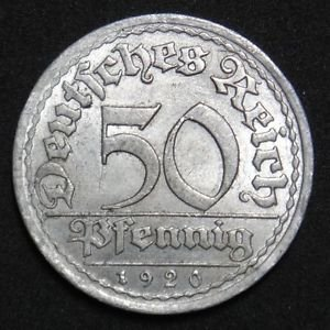 GERMANY 50 PFENNIG ALU COIN 1920 A WEIMAR TIME RARE COIN aUNC