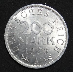 GERMANY 200 MARK ALU COIN 1923 A WEIMAR TIME RARE COIN aUNC