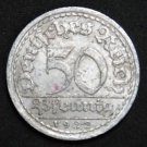 GERMANY 50 PFENNIG ALU COIN 1922 A WEIMAR TIME RARE COIN aUNC