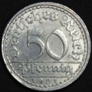 GERMANY 50 PFENNIG ALU COIN 1921 A  WEIMAR TIME RARE COIN aUNC