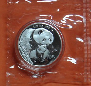 CHINA 10 YUAN PANDA 1 OZ SILVER COIN 2004 DOUBLE SEALED NO RESERVE RARE
