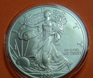 USA AMERICAN SILVER EAGLE 2000 UNC CONDITION SILVER COIN