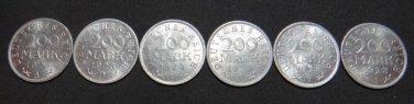 GERMANY 6 COIN FULL SET 200 MARK ALU COIN 1923 A - J WEIMAR FULL RARE SET aUNC