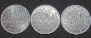 GERMANY LOT OF THREE 500 MARK ALU COIN 1923 A - F WEIMAR TIME RARE COIN XF-aUNC