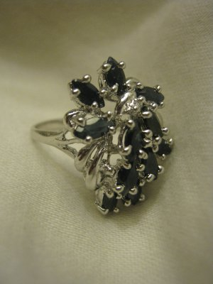 4.12 CT Womens Blue Sapphire Sterling Silver Ring SZ 8.5 GLA Appraised Free Shipping Lower 48