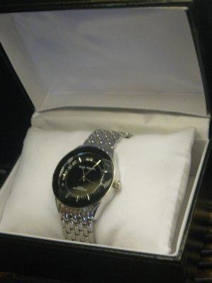 New Ralph Valentin Men's Designer Watch Elegant Tasteful Bling Black Silver Free Ship Lower 48