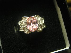 New 20.8 CTW Pink Sapphire White Topaz White Gold Plated Ring Free Ship Lower 48