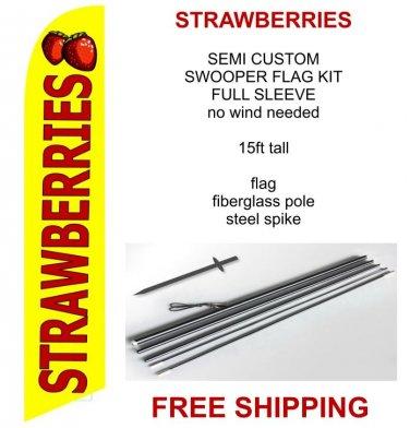 Strawberries flag kit full sleeve swooper flag banner 15ft tall red yellow black