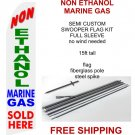 Non ethanol marine gas sold here flag kit full sleeve swooper flag banner 15ft tall red yellow black