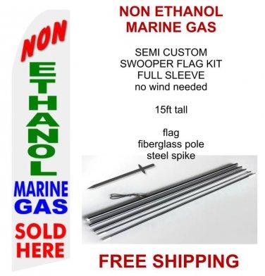 Non ethanol marine gas sold here flag kit full sleeve swooper flag banner 15ft tall red yellow black