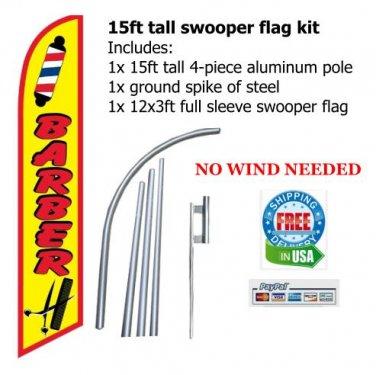 BARBER SHOP 15ft tall SWOOPER FLAG SIGN KIT - free S/H