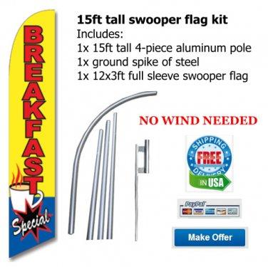 BREAKFAST TALL SWOOPER FLAG BANNER -