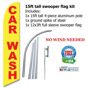 Tall CAR WASH FEATHER FLAG banner yellow/red -