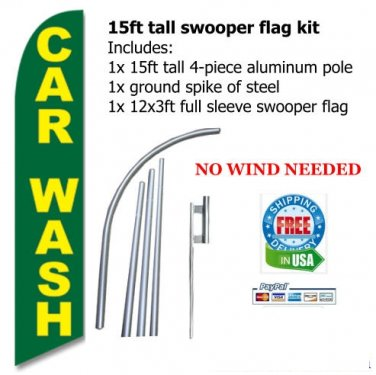 CAR WASH green/yellow Swooper flag -