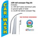 CAR WASH SWOOPER FLAG SET blue/yellow w bubbles - free S/H