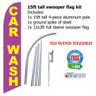 CAR WASH pink/yellow 15ft tall SWOOPER flag -