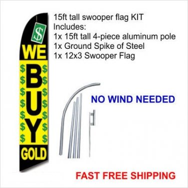 15ft WE BUY GOLD Swooper Feather Flag