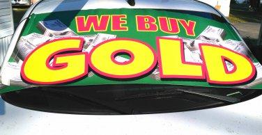 We buy gold car windshield banner sign