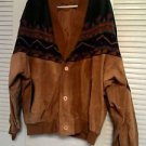 Vintage genuine western leather jacket blanket pattern
