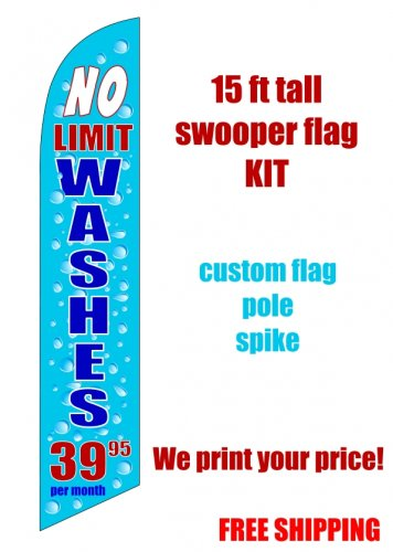 UNLIMITED CAR WASH blue SWOOPER FLAG KIT  -