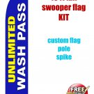 UNLIMITED CAR WASH  PASS blue SWOOPER FLAG KIT