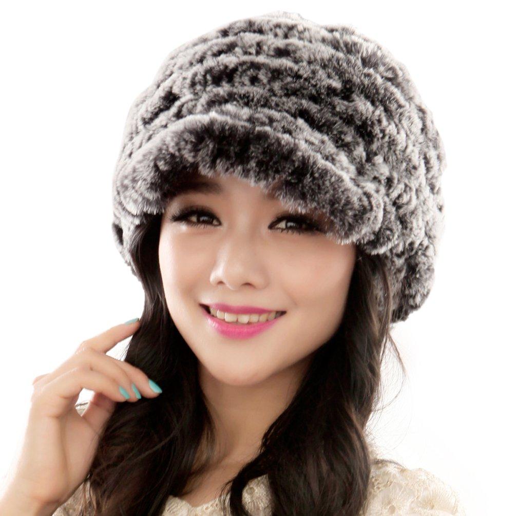 URSFUR Fashion Women's Real Rex Rabbit Fur Peaked Caps Hats Spiral