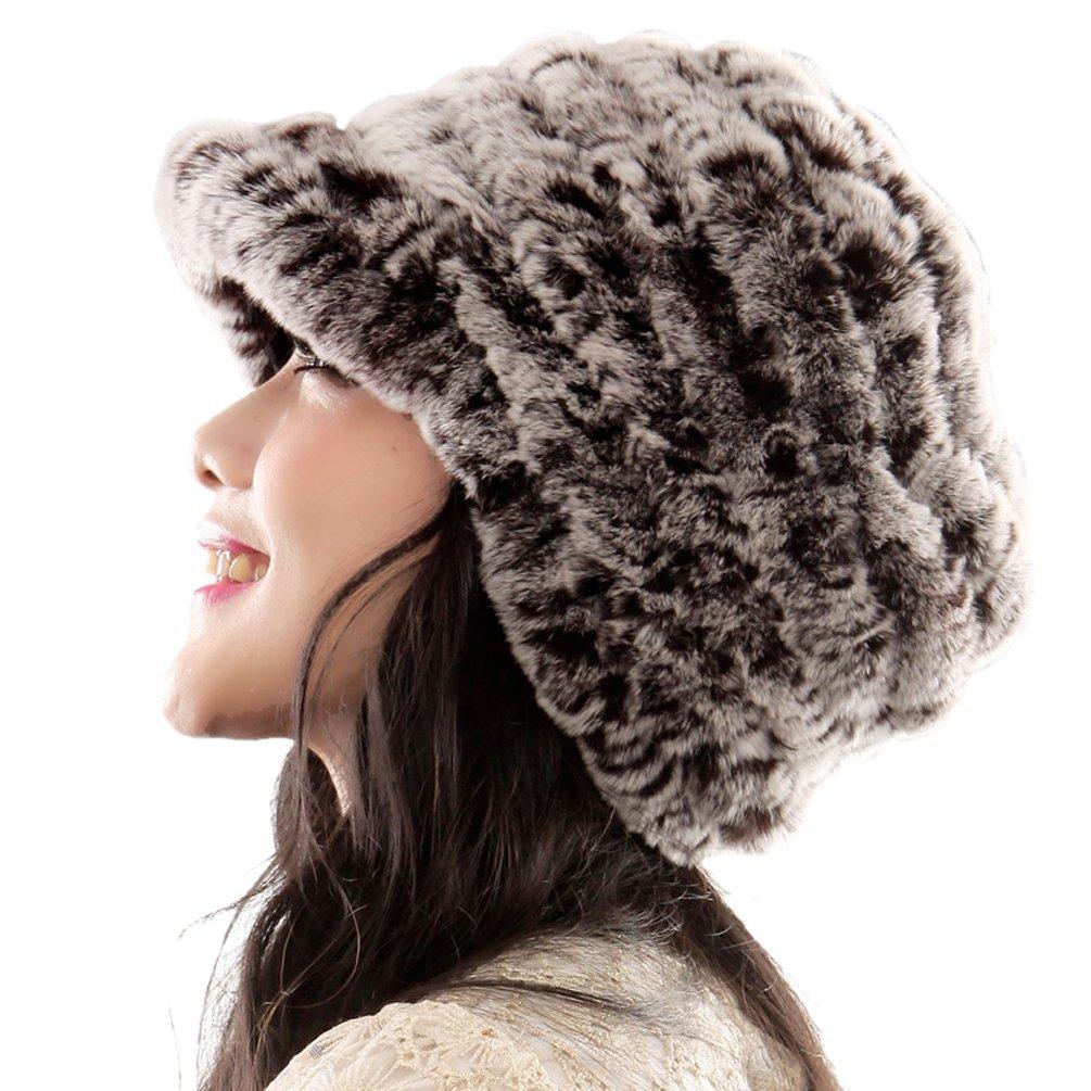 URSFUR Fashion Women's Real Rex Rabbit Fur Peaked Caps Hats Spiral,coffee