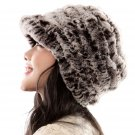 URSFUR Fashion Women's Real Rex Rabbit Fur Peaked Caps Hats Spiral,coffee