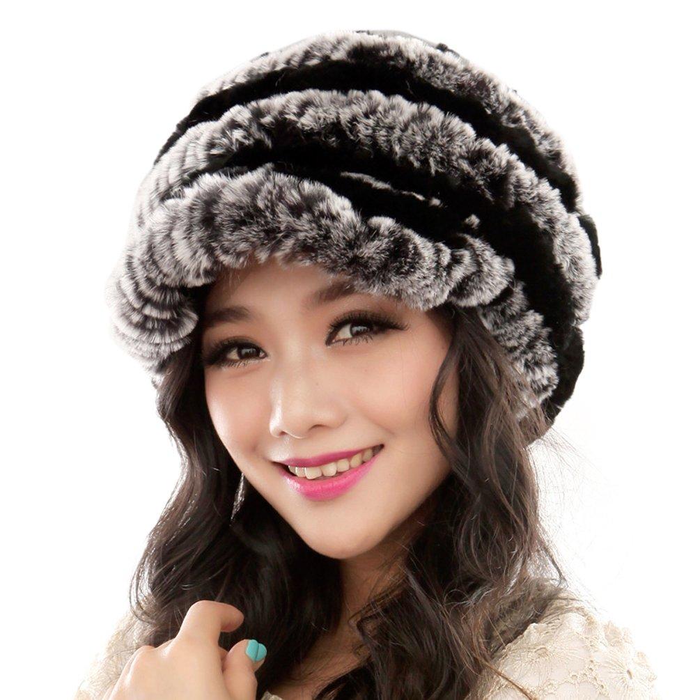 URSFUR Fashion Women's Real Rex Rabbit Fur Peaked Caps Hats Spiral,Grey & Black