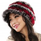 URSFUR Fashion Women's Real Rex Rabbit Fur Peaked Caps Hats Spiral,Grey & Red