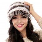 URSFUR Fashion Women's Real Rex Rabbit Fur Peaked Caps Hats Spiral,