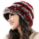 URSFUR Fashion Women's Real Rex Rabbit Fur Peaked Caps Hats Spiral,coffee & Red