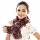 URSFUR  Warm Women's Rex Rabbit Fur Scarves Scarf with Flower Multicolor (pink)
