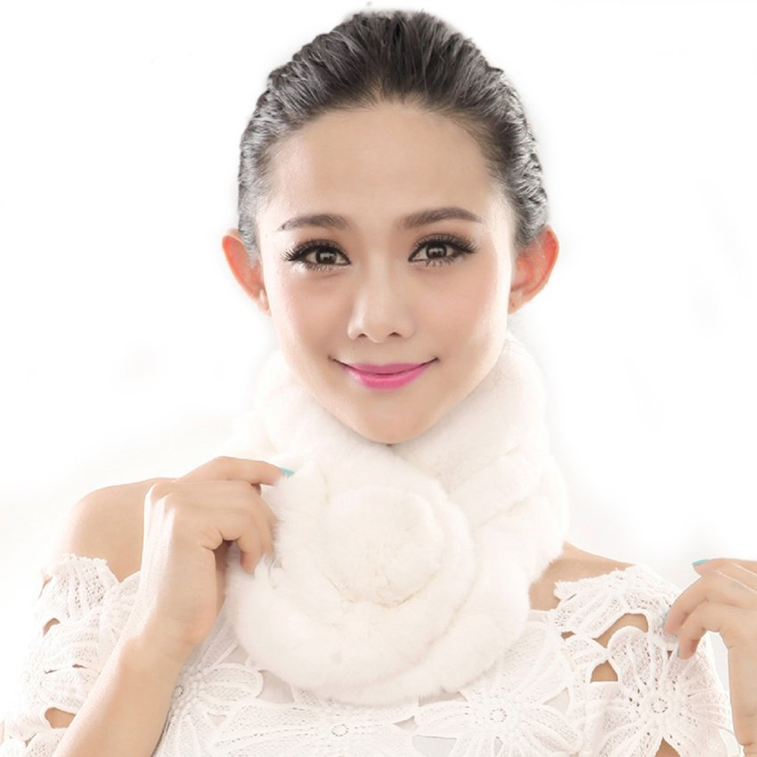 URSFUR  Warm Women's Rex Rabbit Fur Scarves Scarf Multicolor (White)