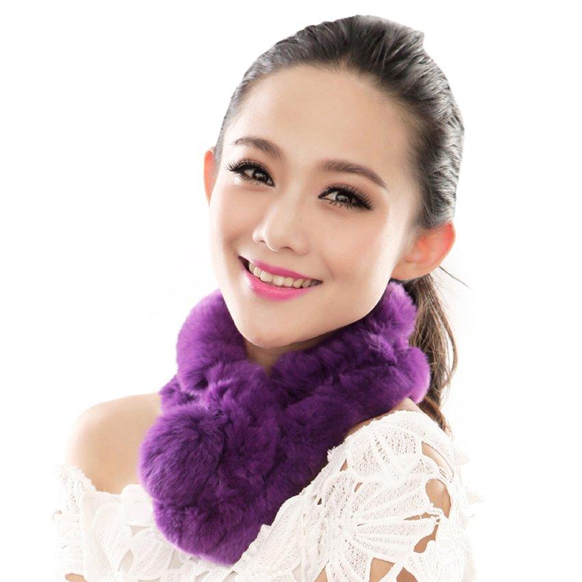 URSFUR  Warm Women's Rex Rabbit Fur Scarves Scarf Multicolor (Purple)