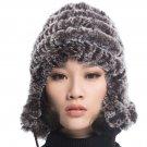 URSFUR  Women's Rex Rabbit Fur Hats Winter Ear Cap Flexible Multicolor (Coffee Color)