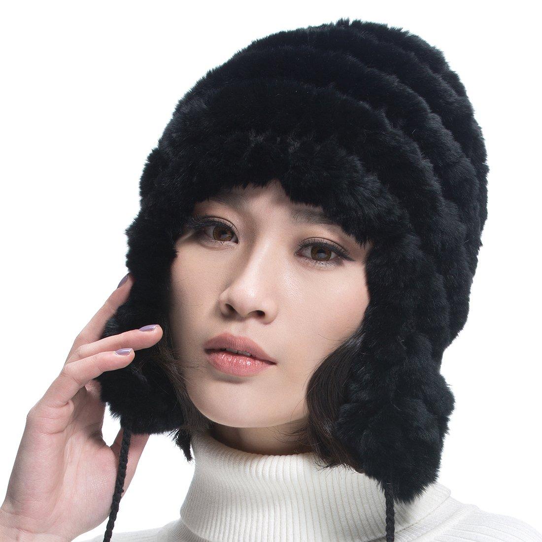 URSFUR  Women's Rex Rabbit Fur Hats Winter Ear Cap Flexible Multicolor (Black)