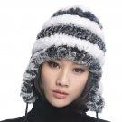 URSFUR  Women's Rex Rabbit Fur Hats Winter Ear Cap Flexible Multicolor (Grey & White)