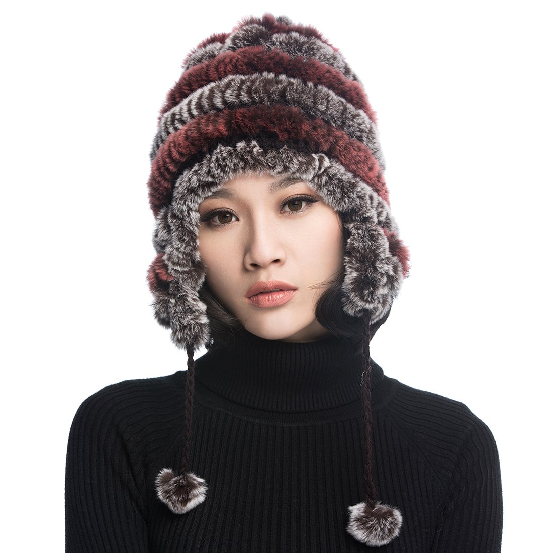 URSFUR  Women's Rex Rabbit Fur Hats Winter Ear Cap Flexible Multicolor (Coffee & Pink)