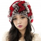 URSFUR Women's Rex Rabbit Fur Hats Winter Ear Cap Flexible Multicolor (coffee & red)
