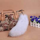 URSFUR Large Blue Fox Fur Tail with Key Chain Keychain Bag Hanging Keyring Gift 12inches