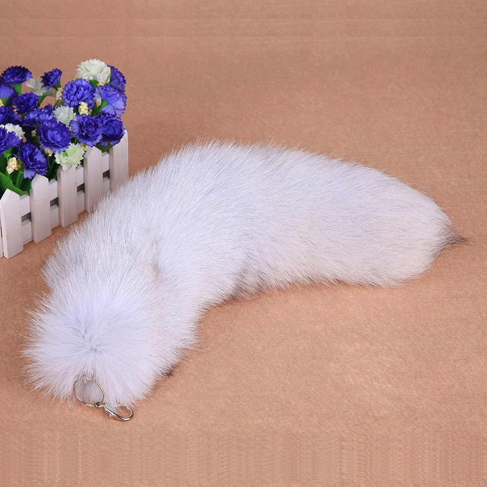 URSFUR Large Blue Fox Fur Tail with Key Chain Keychain Bag Hanging Keyring Gift 14 inches