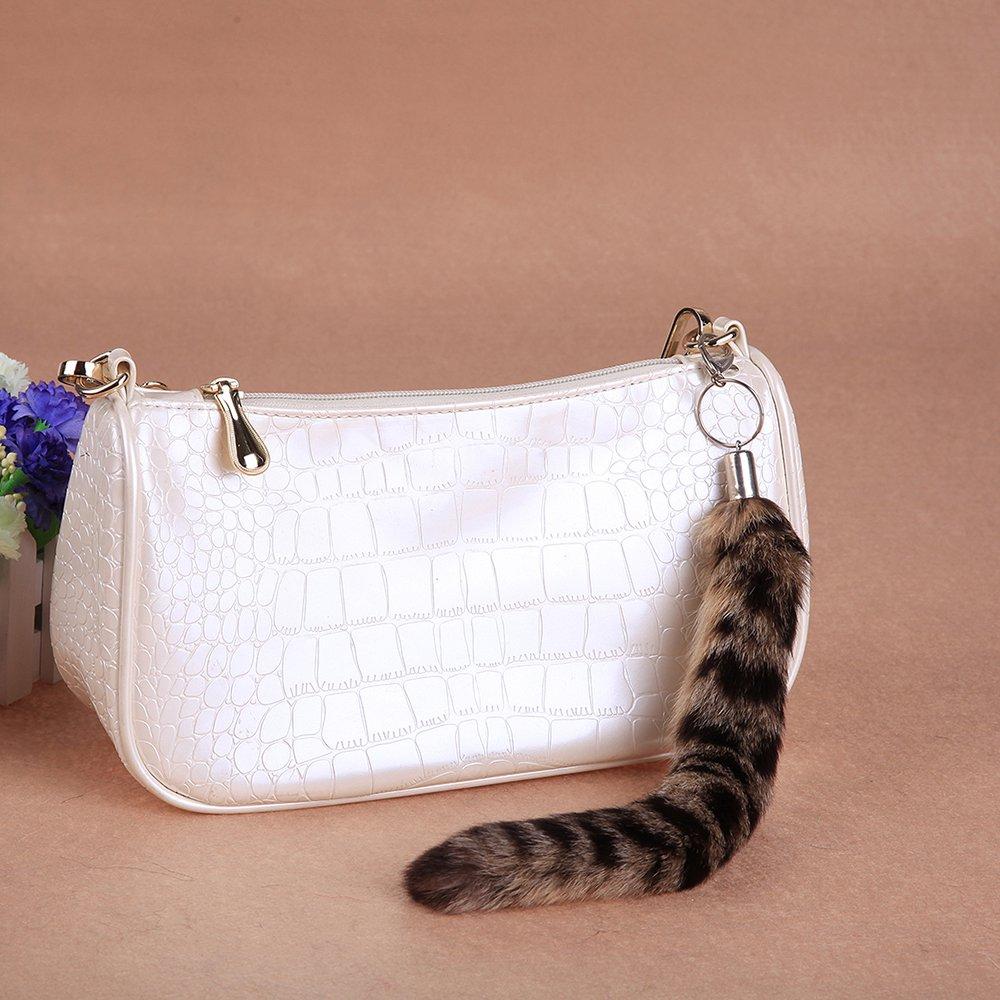 "URSFUR Newest Fashion Fur Tail Tag Keychain Bag Hang Tassel 10"""