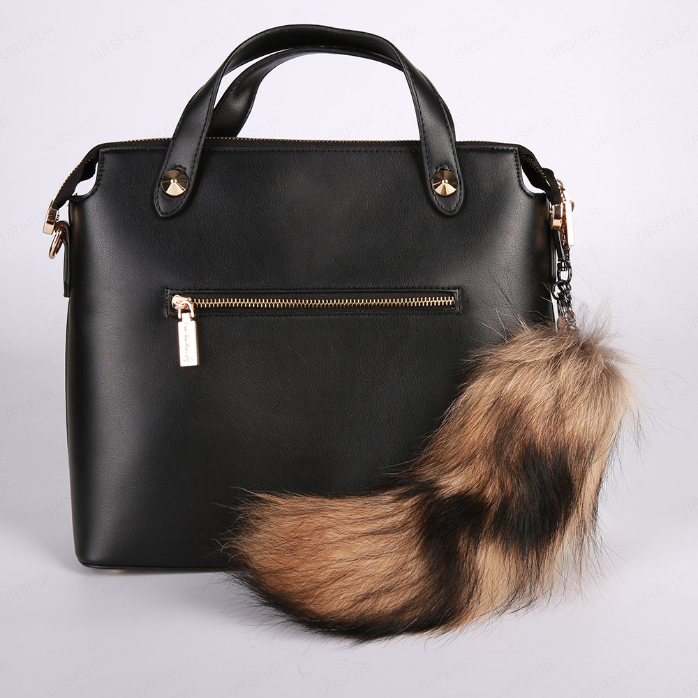 URSFUR Ussuri Raccoon Tail Fur Keychain Bag Charm Pendant