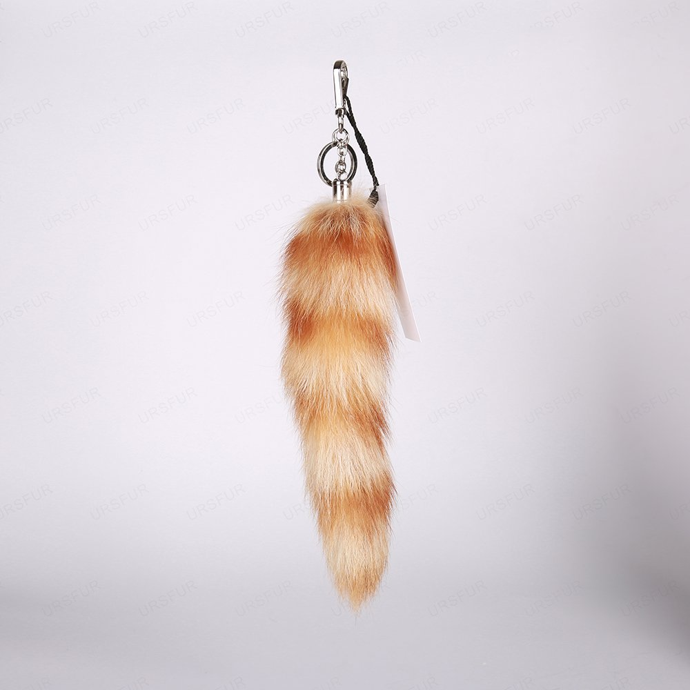 URSFUR Raccoon Tail Fur Keychain Bag Charm Pendant