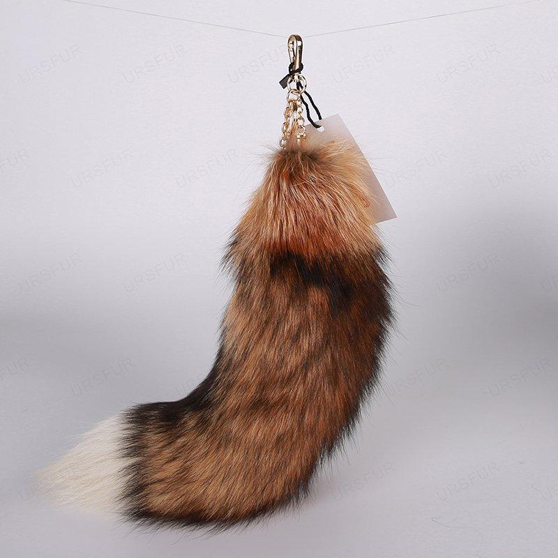 URSFUR Tail Fur Keychain Tassel Bag Charm Pendant Key Chain Ring