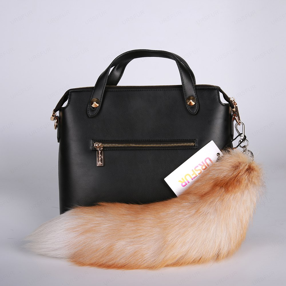 URSFUR Finland Crystal Fox Tail Fur Key Chain Bag Charm Pendant Hook Keychain