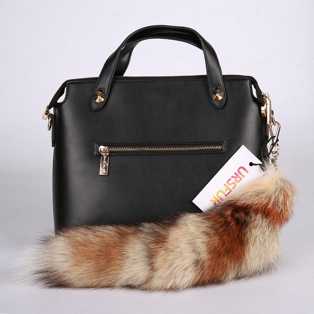 URSFUR White Tails Fur Bag Charm Pendant Cosplay Toy Purse Tassel
